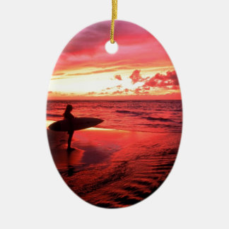 Surfing At Sunset Ceramic Oval Decoration