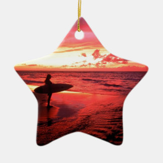 Surfing At Sunset Ceramic Star Decoration