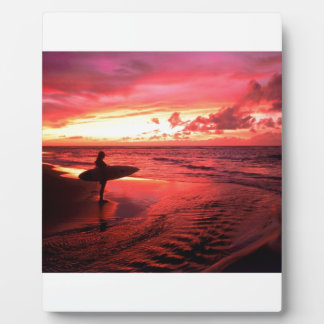 Surfing At Sunset Photo Plaque