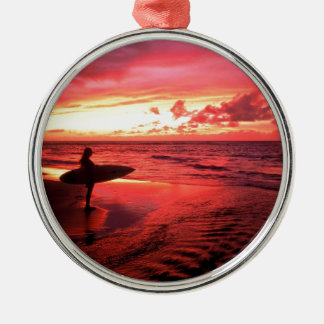 Surfing At Sunset Silver-Colored Round Decoration