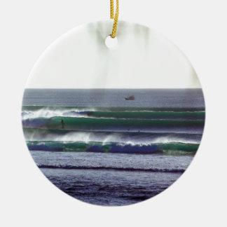 Surfing Bali paradise waves Round Ceramic Decoration