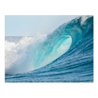 Surfing barrel wave breaking postcard
