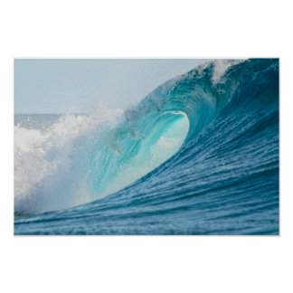 Surfing barrel wave breaking poster