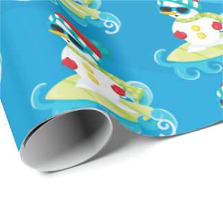 Surfing beach snowman Christmas party tiled wrap Wrapping Paper