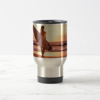 Surfing beach travel mug