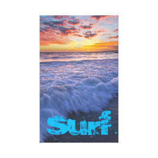 Surfing beach waves at sunset canvas print