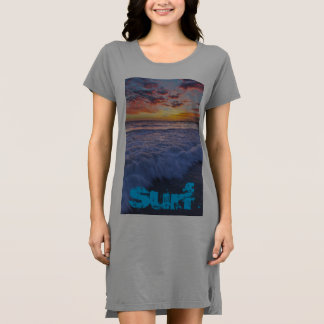Surfing beach waves at sunset dress