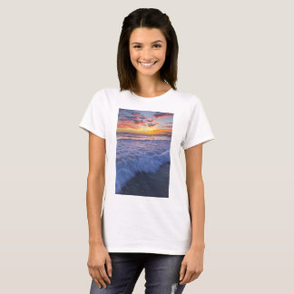 Surfing beach waves at sunset T-Shirt