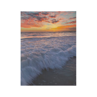 Surfing beach waves at sunset wood poster