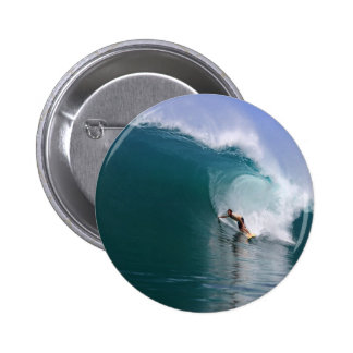 Surfing big blue tropical reef wave pins