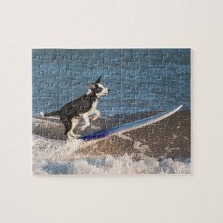 Surfing border collie jigsaw puzzle