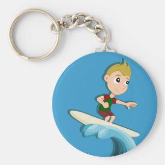 Surfing boy cartoon keychain