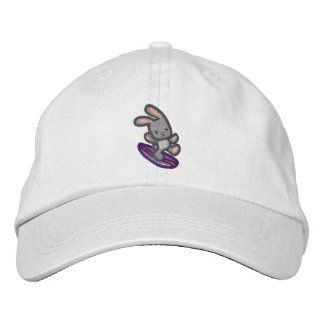 Surfing Bunny Embroidered Gray Bunny Baseball Hat