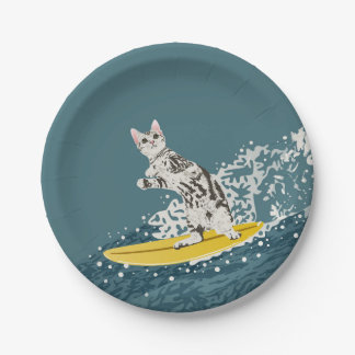 Surfing Cat Paper Plate Party