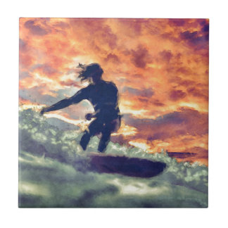 Surfing Ceramic Tile