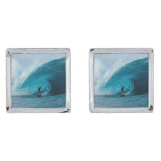 Surfing Cufflinks Silver Finish Cuff Links