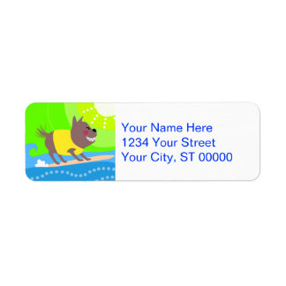 Surfing Dog Return Address Label
