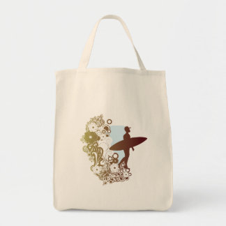 surfing dreams grocery tote bag