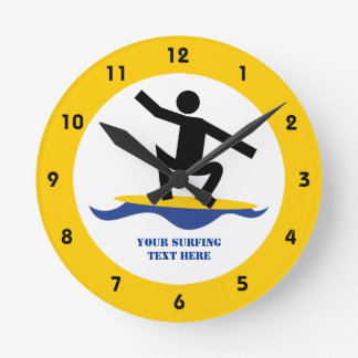 Surfing gifts, surfer on his surfboard custom clocks