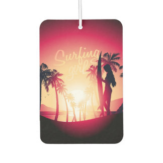 Surfing girl at sunrise car air freshener