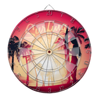 Surfing girl at sunrise dartboard