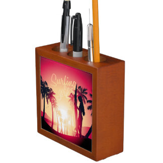 Surfing girl at sunrise desk organiser