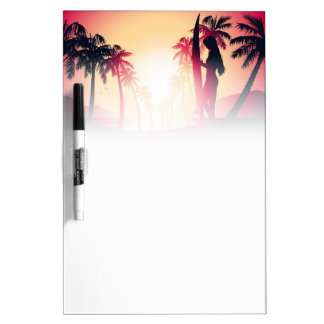 Surfing girl at sunrise dry erase board