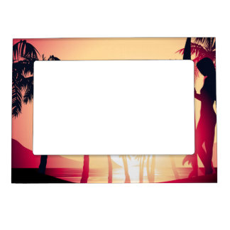 Surfing girl at sunrise magnetic picture frame