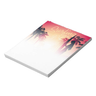 Surfing girl at sunrise notepad