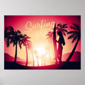 Surfing girl at sunrise poster