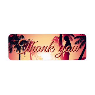 Surfing girl at sunrise return address label