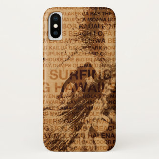 Surfing Hawaii Green Room Faux Wood Surfer iPhone X Case