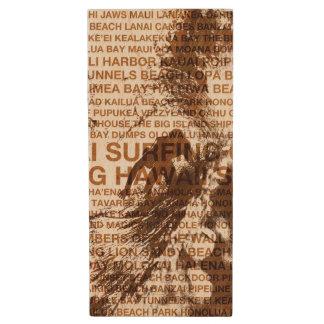 Surfing Hawaii Green Room Hawaiian Surfer Wood USB 2.0 Flash Drive