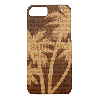 Surfing Hawaii Palm Trees Faux Wood Tropical iPhone 8/7 Case