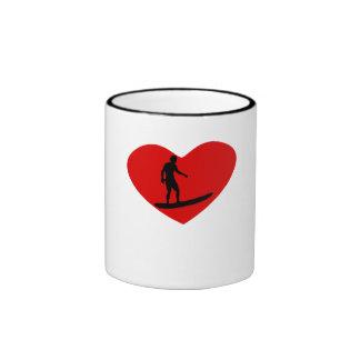 Surfing Heart Coffee Mugs
