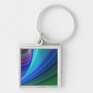 Surfing in a magic wave Silver-Colored square key ring