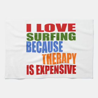 Surfing Is My Therapy Tea Towel