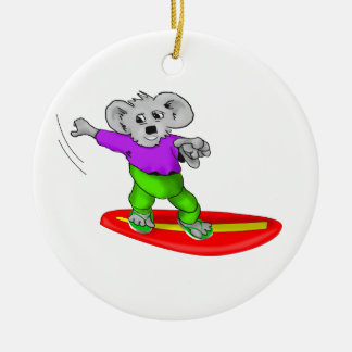 Surfing Koala Ceramic Ornament