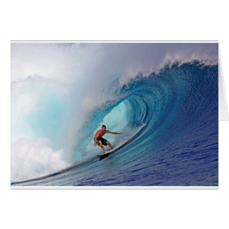 Surfing large blue wave Mentawai Islands Card