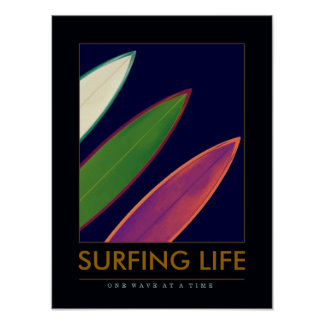 SURFING LIFE - surfboards water-sport Poster