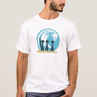 Surfing meercats cartoon watching the waves No.2. T-Shirt