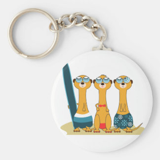 Surfing Meercats Key Ring