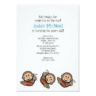 surfing monkey BIRTHDAY PARTY invitation 2
