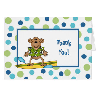 Surfing Monkey Thank You Note Card