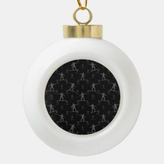 Surfing Motif Pattern Ceramic Ball Christmas Ornament