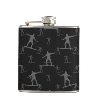 Surfing Motif Pattern Hip Flask
