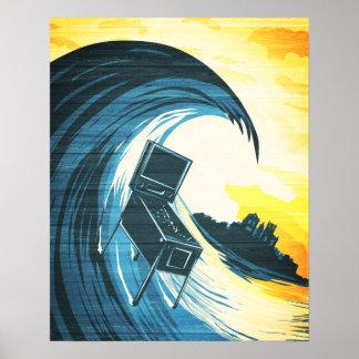 Surfing Pinball Machine Poster