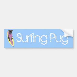 Surfing Pug (Pastel) Bumper Sticker