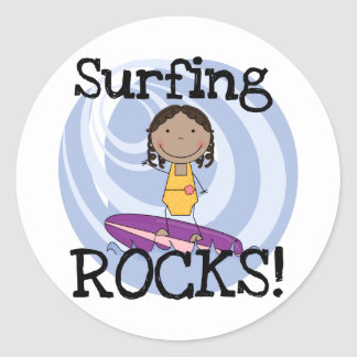 Surfing Rocks African American Girl Tshirts Classic Round Sticker