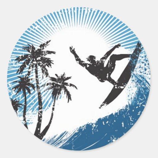 Surfing Round Sticker